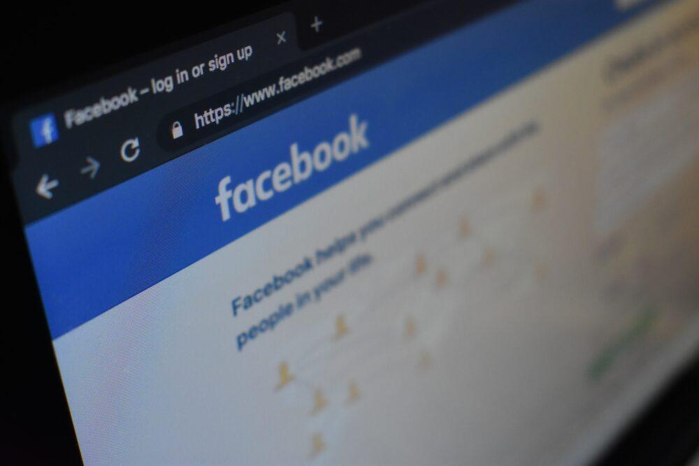facebook login screen on monitor
